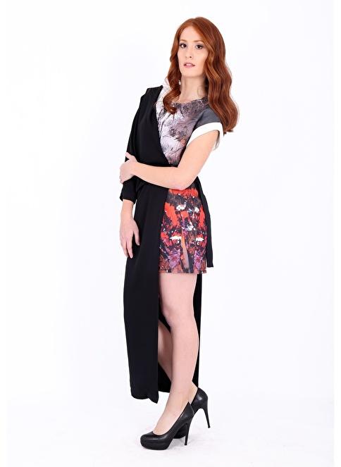 Soie Design Asimetrik Kesimli Çiçek Desenli Elbise Ekru